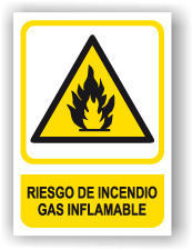 Señal - Cartel - Rotulo Riesgo de Incendio Gas Inflamable  SEP0005
