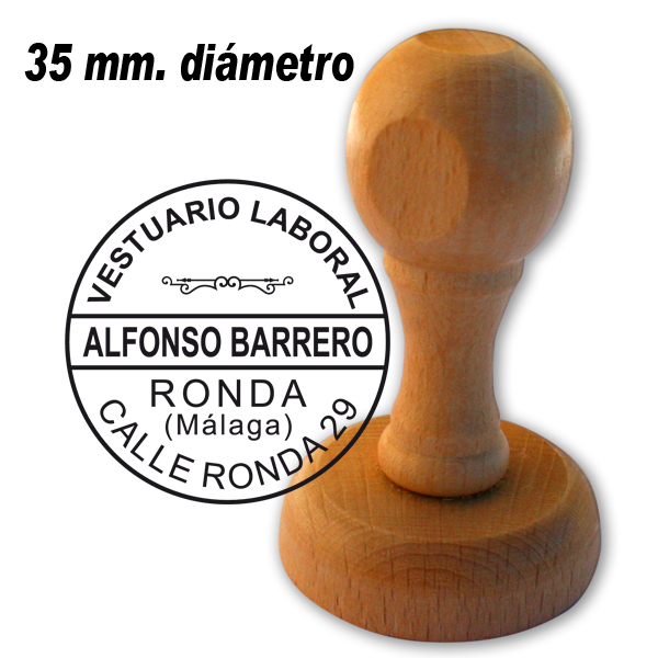 Redondo 25 mm ideal Empresas Autonomos Sello Caucho de Madera personalizado