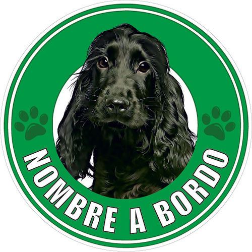 Pegatina Cocker Spaniel Ingles Negro a Bordo