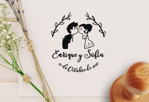 Sello Boda Beso Novios